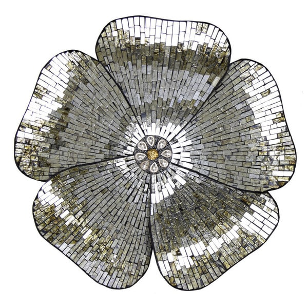 "Shop River Of Goods 22""H Gold Mosaic Glass Flower Wall"