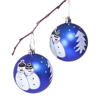 Hand-painted Blue Snowman 8-centimeter Christmas Ornament
