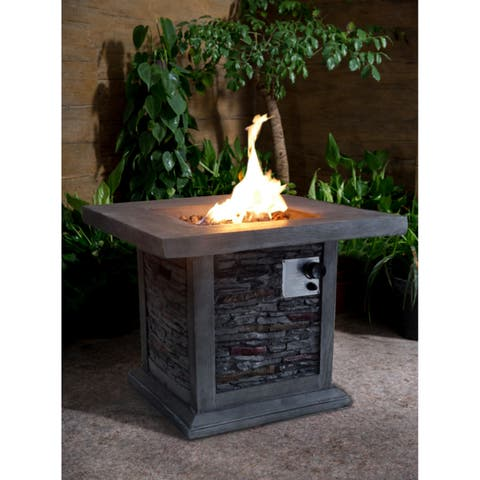 Montego 30-inch Square Gray Stacked Stone Outdoor Propane Fire Pit