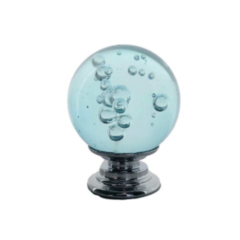 "Aqua Blue Bubble Crystal Glass 1"" Round Knobs- Pack of 6"
