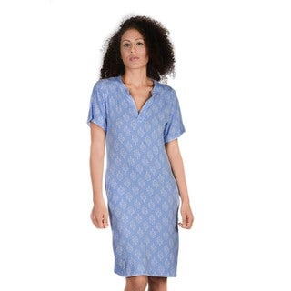 Bluberry Women's Nahlah Blue Cotton and Spandex Slim-fit Dress