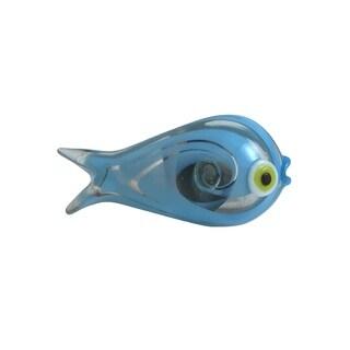 Blue Fish Shaped Glass Drawer Pull, Drawer, Cabinet, Dresser Knob - Set of 6