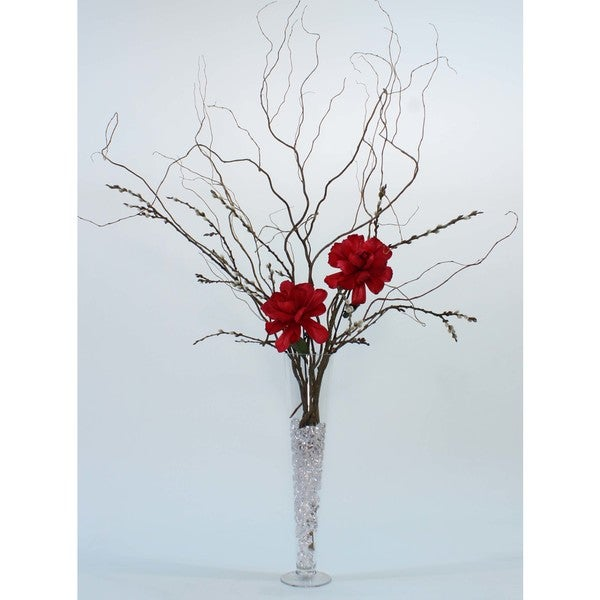 Shop 16 In Fluted Glass Vase Diy Giant Red Peonies Curly Willow