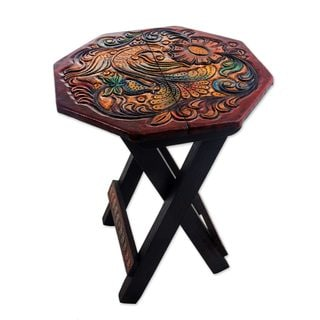 Handmade Leather Embossed Wood Folding Stool, U0027Hexagon Paradise Birdu0027  (Peru)|