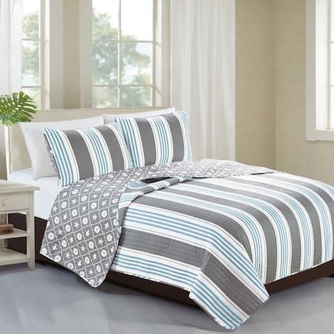 Home Fashion Designs St. Croix Collection 3-Piece Coastal Quilt Set