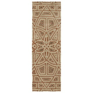 Hand-Tufted Lola Mosaic Rust Glass Wool Rug (2'6 x 8'0) - 2'6 x 8'