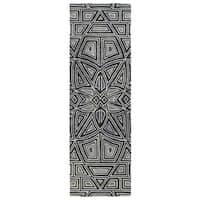 Hand-Tufted Lola Mosaic Periwinkle Glass Wool Rug (2'6 x 8'0)