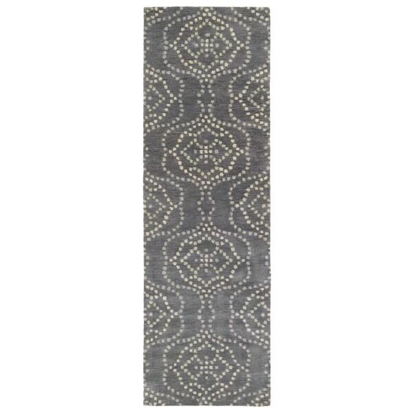Hand-Tufted Lola Mosaic Slate Cobblestone Wool Rug - 2'6 x 8'