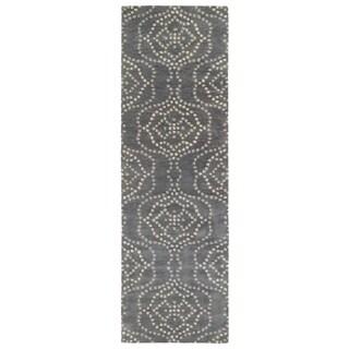 Hand-Tufted Lola Mosaic Slate Cobblestone Wool Rug (2'6 x 8')