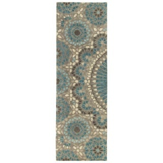 Hand-Tufted Lola Mosaic Teal Wool Rug (2'6 x 8')
