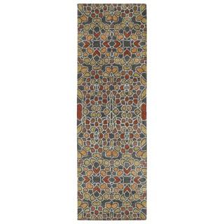 Hand-Tufted Lola Mosaic Charcoal Glass Wool Rug (2'6 x 8'0)