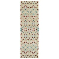 "Hand-Tufted Lola Mosaic Beige Glass Wool Rug - 2'6"" x 8'"
