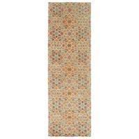 Hand-Tufted Lola Mosaic Orange Wool Rug - 2'6 x 8'