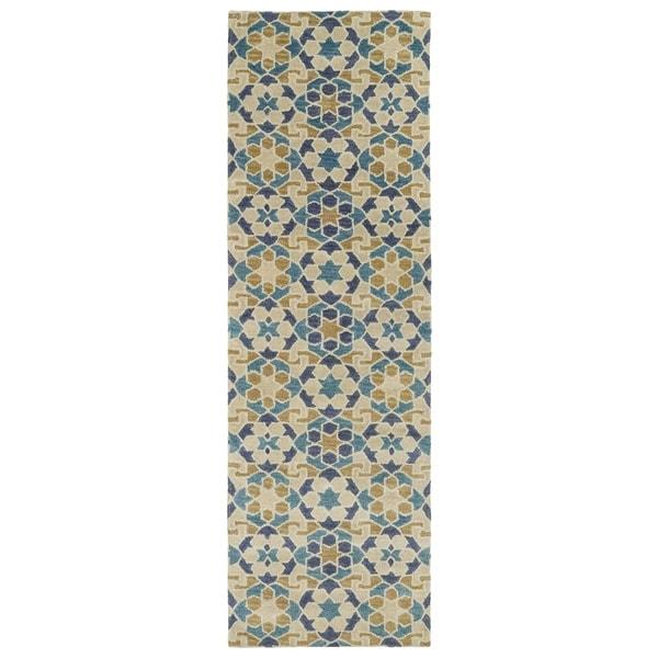 Hand-Tufted Lola Mosaic Sand Wool Rug (2'6 x 8')