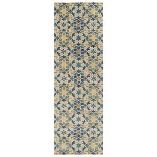Hand-Tufted Lola Mosaic Sand Wool Rug (2'6 x 8'0)