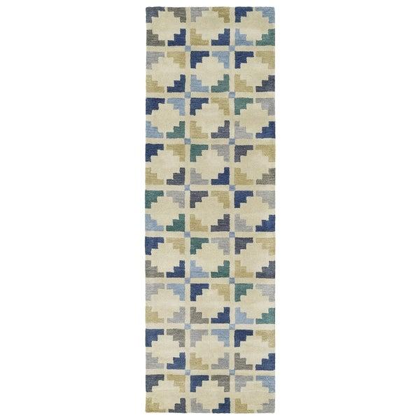 Hand-Tufted Lola Mosaic Blue Motif Wool Rug (2'6 x 8')