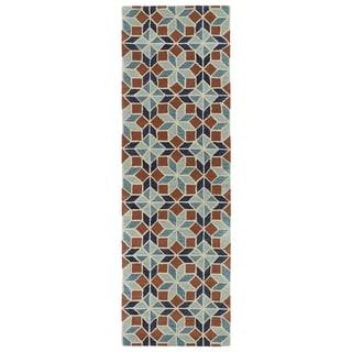 Hand-Tufted Lola Mosaic Turquoise Wool Rug (2'6 x 8')