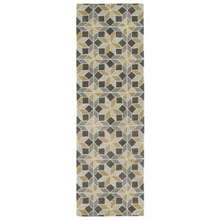 Hand-Tufted Lola Mosaic Grey Wool Rug (2'6 x 8')