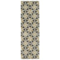 Hand-Tufted Lola Mosaic Grey Wool Rug - 2'6 x 8'