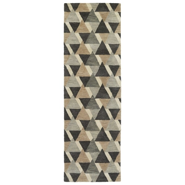 "Hand-Tufted Lola Mosaic Charcoal Tiffany Wool Rug (2'6"" x 8')"