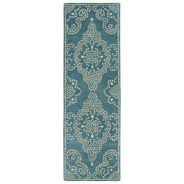 Shop Hand Tufted Lola Mosaic Teal Medallion Wool Rug 2 6