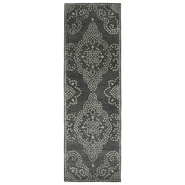 Hand-Tufted Lola Mosaic Charcoal Medallion Wool Rug - 2'6 x 8'