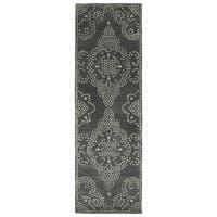 Hand-Tufted Lola Mosaic Charcoal Medallion Wool Rug - 2'6 x 8'