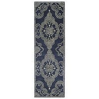 Hand-Tufted Lola Mosaic Navy Medallion Wool Rug (2'6 x 8')