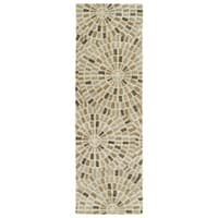 Hand-Tufted Lola Mosaic Brown Cobblestone Wool Rug - 2'6 x 8'