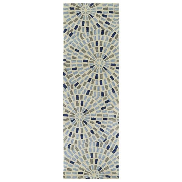 Hand-Tufted Lola Mosaic Blue Cobblestone Wool Rug - 2'6 x 8'
