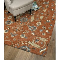 Hand-Tufted Christopher Palace Paprika Wool Rug - 5' x 7'9