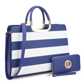Dasein Women's Handbag PU leather Top Handle Briefcase with Matching Wallet
