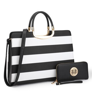 Dasein Women's Handbag PU leather Top Handle Briefcase with Matching Wallet (Option: White/Black)