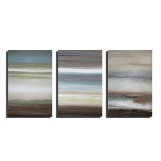 Prints with hand painted texture 'Abstract 716' 3-piece Gallery-wrapped Canvas Art Set