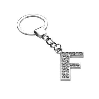 Insten Glamorous Letter F Keychain with White Crystals