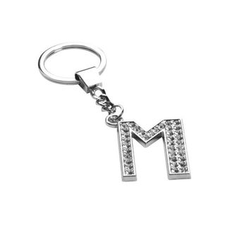 Insten Glamorous Letter M Keychain with White Crystals