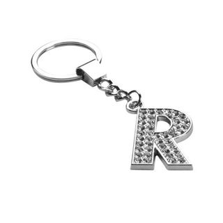 Insten Glamorous Letter R Keychain with White Crystals