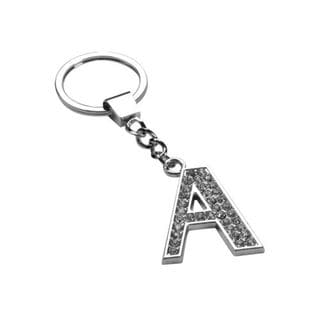 Insten Glamorous Letter A Keychain with White Crystals