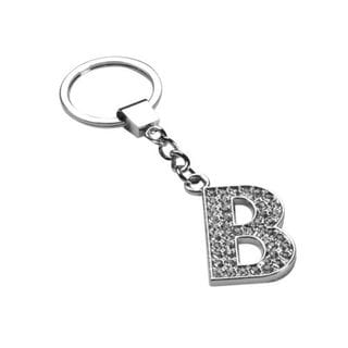 Insten Glamorous Letter B Keychain with White Crystals