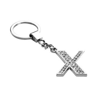 Insten Glamorous Letter X Keychain with White Crystals