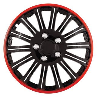 Pilot Automotive 4-piece Set Cobra Black Chrome With Red Accent 15-inch Wheel Cover