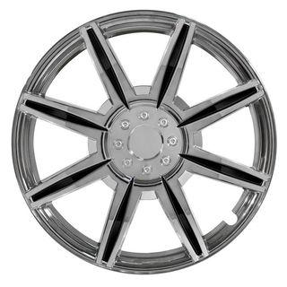 Pilot Automotive 4-piece Set 16-inch Chrome Wheel Cover 8 Spoke with Black Inserts