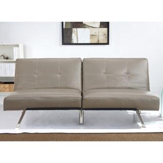 ABBYSON LIVING Aspen Taupe Faux Leather Foldable Futon Sleeper Sofa Bed