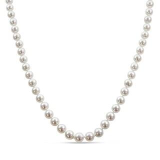 Miadora Signature Collection South Sea Graduated Pearl Strand 14k White Gold Diamond Ball Clasp Necklace (10-11.5 mm)