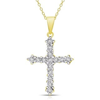 Finesque Sterling Silver or Gold over Silver 0.075ct TW Diamond Miracle Plate Cross Necklace (I-J, I2-I3)