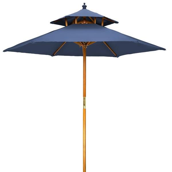 7u0027 Wood 2 Tier Pagoda Style Patio Umbrella By Trademark Innovations
