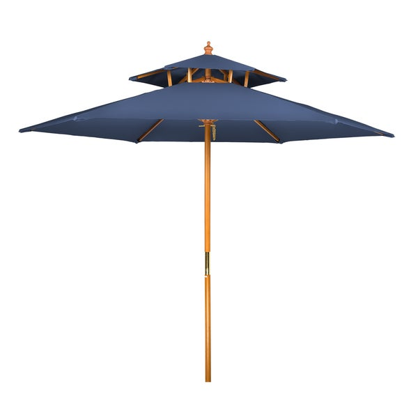Beau 8u0026#x27; Wood 2 Tier Pagoda Style Patio Umbrella By Trademark Innovations