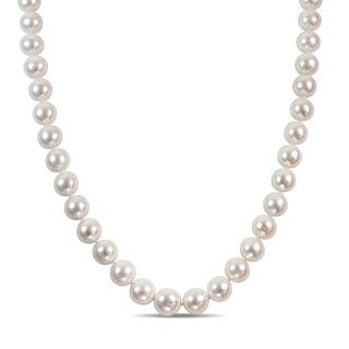 Miadora Signature Collection Cultured Freshwater Pearl Strand 14k White Gold Diamond Ball Clasp Necklace (13.5-15 mm)