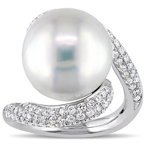 Miadora Signature Collection 14k White Gold Freshwater Pearl and 1ct TDW Diamond Crossover Ring (14-14.5mm)