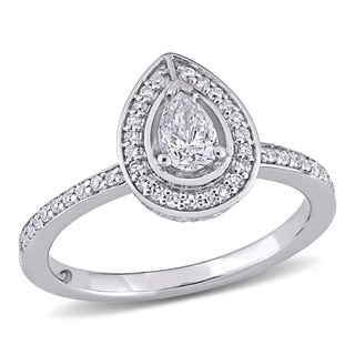 Miadora Signature Collection 14k White Gold 5/8ct TDW Pear and Round-Cut Diamond Halo Engagement Ring